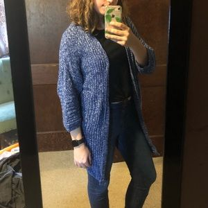 Knit blue 3/4 sleeve cardigan